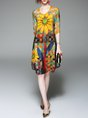 V neck Yellow A-line Half Sleeve Printed Midi Dress