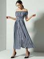 Off Shoulder Blue Swing Daily Casual Short Sleeve Maxi Dress