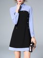 Shirt Collar Blue A-line Casual Long Sleeve Buttoned Striped Mini Dress
