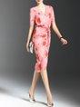 Printed Floral Sheath Elegant Midi Dress