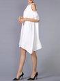Cold Shoulder White A-line Daytime Casual Half Sleeve Asymmetric Midi Dress