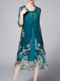 Blue A-line Daily Half Sleeve Floral Midi Dress