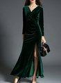 Surplice Neck  A-line Long Sleeve Slit Solid Maxi Dress