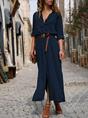 Shawl Collar  Shift Women 3/4 Sleeve Paneled Spring Dress