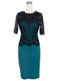 Bodycon Date Work Short Sleeve Paneled Green Midi Dress