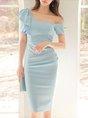 One Shoulder Ruffled Elegant Midi Dress