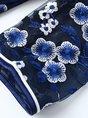 Stand Collar Navy Blue Bodycon Vintage Slit Statement Midi Dress