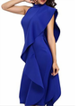 Stand Collar  Going out Ruffled Midi Dress