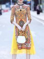 Keyhole Yellow A-line Half Sleeve Paneled Tribal Statement Midi Dress