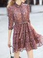 Shirt Collar  Blouson Going out 3/4 Sleeve Bow Floral Mini Dress