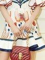 Stand Collar Bell Sleeve Vintage Printed Mini Dress