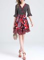 Surplice Neck Black-red A-line Daytime Bell Sleeve Paneled Polka Dots Midi Dress