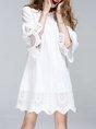 White Bell Sleeve Sweet Crochet-trimmed Statement Mini Dress