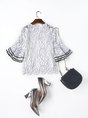 Frill Sleeve Floral Casual Two Piece Outfits Blouse With Cami