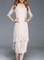 Apricot A-line  Cotton Half Sleeve Paneled  Midi Dress