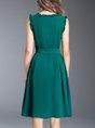 A-line Sleeveless Elegant Midi Dress