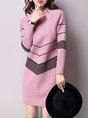 Knitted Stand Collar Casual Long Sleeve Sweater Dress