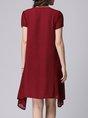 Shift Daytime Short Sleeve Appliqued Polka Dots Midi Dress