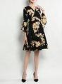 Surplice Neck Midi Dress A-line Daily Bell Sleeve Wrap Dress