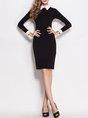 Black Sheath Work Elegant Plain Midi Dress