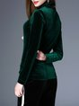 Velvet Turtleneck Long Sleeve Solid Casual T-Shirt