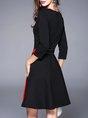 Black A-line Long Sleeve Asymmetric Midi Dress