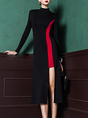 Black-red Cotton Paneled Statement Midi Dress