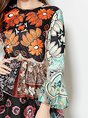 Multicolor Daytime Bell Sleeve Vintage Tiered  Maxi Dress