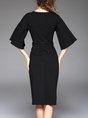Black Sheath Bell Sleeve Statement Midi Dress