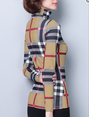 Light Khaki Turtle Neck Checkered/plaid Shift T-Shirt