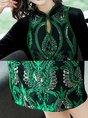Keyhole Sheath Beaded Embroidered Green Cocktail Midi Dress