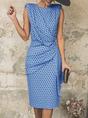 Sheath Draped Cutout Sleeveless Midi Dress