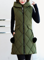 Hoodie Solid Pockets Zipper Vests And Gilets