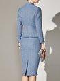 Solid Sheath Elegant Coat with Skirt Set