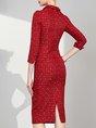 Lapel Red  Bodycon 3/4 Sleeve Date Midi Dress