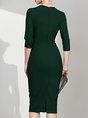 Square Neck Army Green Bodycon Elegant Solid Midi Dress