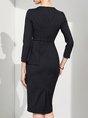 Asymmetric Ruffled Printed Bodycon Elegant Midi Dress