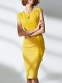 Elegant Sleeveless Bodycon Folds Solid Midi Dress