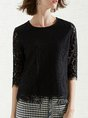Elegant Guipure lace 3/4 Sleeve Crew Neck Sheath T-Shirt
