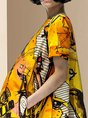 Yellow Printed Short Sleeve A-Line Daytime Casual Mini Dress