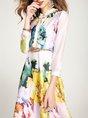 White Stand Collar Elegant Floral A-Line Midi Dress