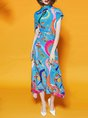 Summer Sheath Date Statement Asymmetric Printed Maxi Dress