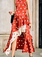Swing Asymmetric Polka Dots Maxi Dress