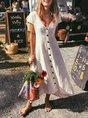 Buttoned Cotton-Blend Short Sleeve Holiday Dress