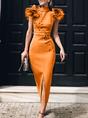 Embellished Slit Bodycon Cocktail Midi Dress