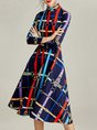 Graphic Gathered Printed Date Elegant Midi Dress