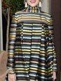Multicolor Turtleneck Prom Striped Maxi Dress