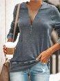 Casual Daily Zipper Long Sleeve Top