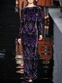 Velvet Printed Color-block Long Sleeve Dress