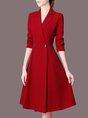 Lapel Red A-Line Work Elegant Midi Dress